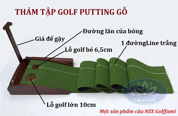 Thảm tập Golf Putting gỗ Gomi23