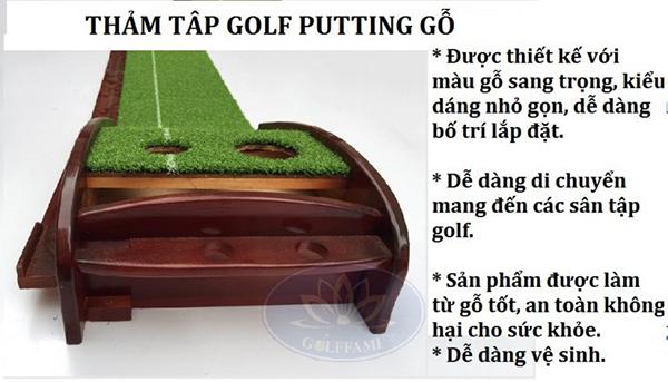 Những thông số kỹ thuật về thảm tập Golf Putting gỗ Gomi23