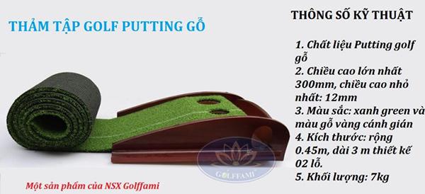 Thông số kỹ thuật thảm tập Golf Putting gỗ Gomi23