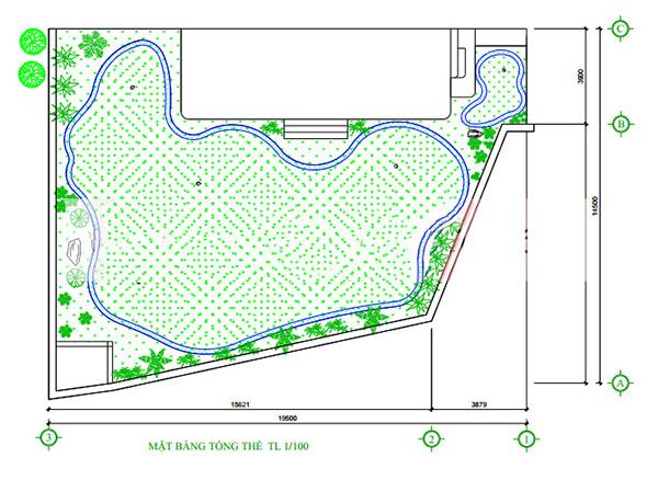 Bản vẽ thiết kế thi công sân tập golf